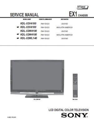 kdl 52w4100 service manual complete service manuals rh completeservicemanuals com Sony KDL-52W4100 Plug sony kdl-52w4100 manual pdf