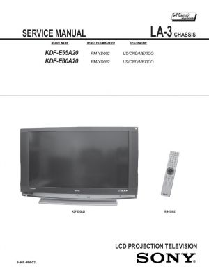 kdf e60a20 service manual complete service manuals rh completeservicemanuals com Sony Rear Projection TV Help Old Sony Projection TV