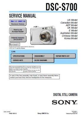 Pdf manual for sony digital camera cybershot,cyber-shot dsc-s700.